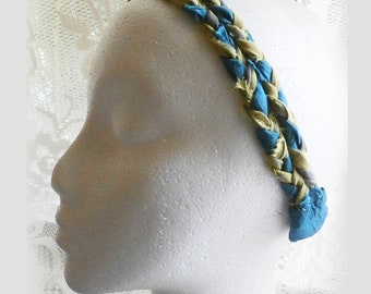 Braided Headband For Ladies and Teens, Peacock Blue and Green Upcycled Fabric Boho Hair Accessory