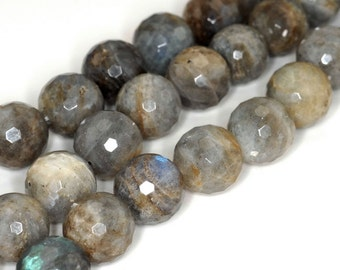 16mm Labradorite Gemstone Faceted Round Loose Beads 7 inch Half Strand (90142435-B74)