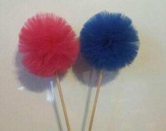 Pom Pom Centerpiece, basic tulle pom pom, baby reveal centerpiece, birthday centerpiece, basic pom pom