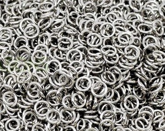 4mm Jump Rings: 100 Antique Silver Open Jump Rings 4mm x .7mm (21 Gauge) -- Lead, Nickel, & Cadmium free Jewelry Finding 4x.7-1