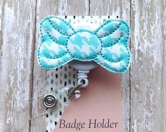 Blue Bow Nurse Badge Reel Fabric Badge ID Holder RN Feltie Retractable Badge Reel Clip School Nurse gift Id Badge Holder Name Tag Badge Pull