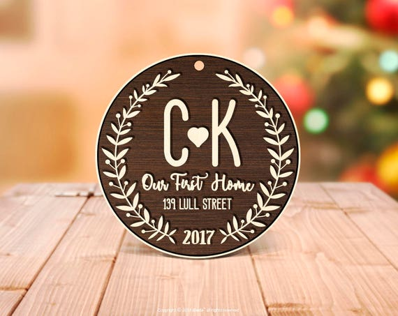 Our first Home Tag, Wood Our First Home Ornament Christmas Tag Ornament New House Gift, Our First Home Ornament Present Monogram Wood Tag 29