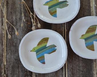 Ceramic Dish - Pottery Dish - Bird Dish - Terracotta Dish - Small Plate - Ceramic Plate - Serving Plate