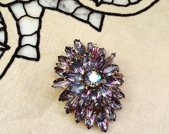 ViNTAGE JULIANA PuRPLE MaRQUIS RhINESTONE PiN BROOCH, Women's ViNTAGE CoSTUME JeweLRY, Juliana DeLIZZA & Elster jewelry, SpARKLiNG MarQUISe