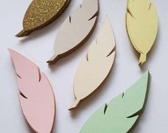Colorful Scrap Booking Feather Die Cut Outs ( Embellishments, Wedding Decor, etc.)
