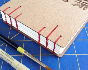 Poppy Sketchbook with Laser Engraved covers and watercolor paper - lays flat  - gift for an artist or gardener