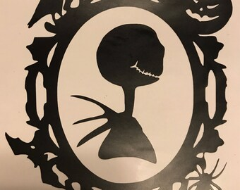Disney / Silhouette of Jack and Sally with Border Decal / Wall / Car Decal/ Nightmare Before Christmas