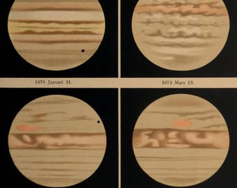 1888.Astronomy.Antique print.Images of JUPITER in different years..,8.6x12.3 ins. or 22x31,5 cm. Chromolithograph.Antique astronomy.