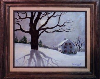 """Snow Moon acrylic painting 11"""" x 13"""" framed"""