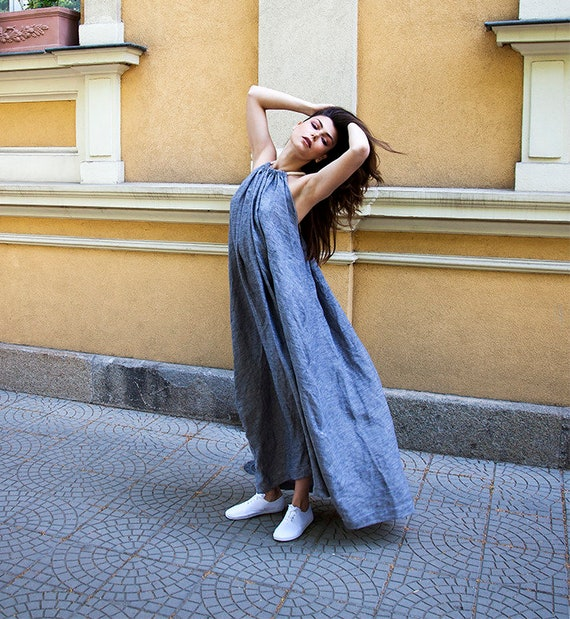 Linen Maxi Abaya Dress, Pure linen caftan, Summer Dress Tunic, Loose Oversized Dress, Open Back Dress, Long Straps Dress