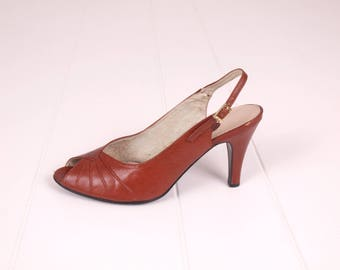 70s Heels || Leather Shoes || Dance Shoes || Brown Leather Heels || 70s Slingbacks || Size 7.5 Shoes