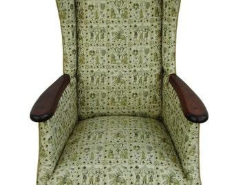 Mid Century Fireside Wingback Chair Vintage Wingback Chair Mid Century Armchair Wooden Arm Chair Upholstered Vintage Chair French Armchair