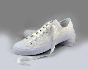 Lace Bridal Converses sz 11  Ready to Ship   -- Eggnog Lace Converse Monochrome -- Wedding Tennis shoes  - Wedding Converse
