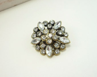 Antique Bronze Cluster Rhinestone Button (20mm, 1pc)