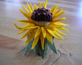 Small Yellow Flower Fairy, Waldorf Inspired, Wool Felt Peg Doll Fairy