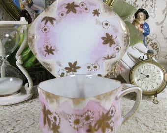 Antique NIPPON Porcelain Cup & Saucer Ornate GILT Moriage