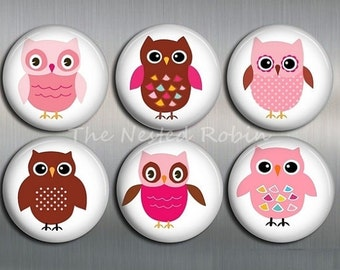OWL MAGNETS with gift pouch - Set of 6