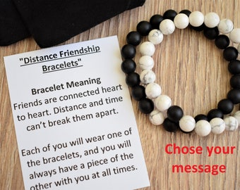 long distance friendship bracelet best friend distance bracelet bff distance jewelry friendship distance gift distance card message bracelet