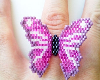 Beaded butterfly ring, butterfly ring, peyote ring, Delica Miyuki seed bead ring, statement ring, pink butterfly ring, teenage girl gift