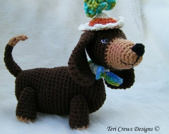 Crochet Pattern Dashshund Dog by Teri Crews instant download PDF format Crochet Toy Pattern