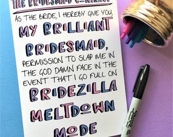 Funny Bridesmaid Card, Be My Bridesmaid Card, Bridesmaid Card, Wedding Card, Funny Wedding Card, Bridezilla Card, Bridezilla Bridesmaid Card