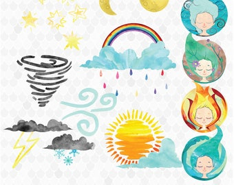 Weather Clip art, Watercolor Weather, Weather Elements, Weather clipart, Rainbow, Clouds, Sun, Moon, Rain, Lightning, Tornado, Hand-Drawn