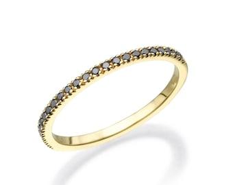 Black Diamond Band. Black Diamond Ring. Black Engagement Ring. Black Wedding Band. Stacking Ring. Black Ring. 14K/18K Yellow Gold