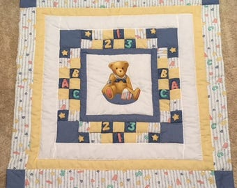 Blue ABC/123 baby quilt