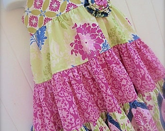 Girl Baby Sister  Sundress PDF Pattern ASHLEY  Sewing Size 6 months to 12 Three Tier Dress