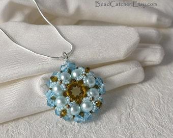 1x pearls & crystals Aqua beadwoven pendant