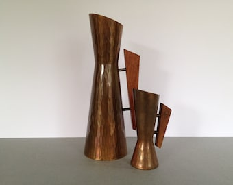 Set of 2 vintage Danish Modern Copper with teakwood handle  from the1960s.