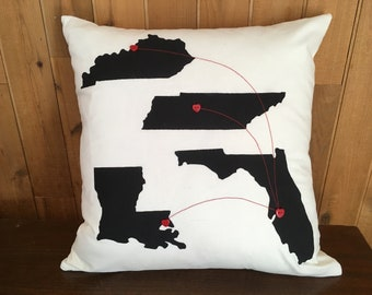 Custom Hearts from Here to There Pillow, Gifts for Dad, State to State Heart Pillow, Distance Pillow, Long Distance Family, Miles Apart