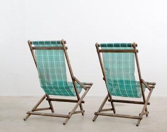 vintage deck chairs / rocking beach chairs