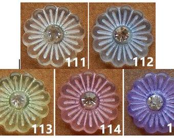 "144 FLOWER SHANK BUTTONS, Size 18L – 7/16"", Shiny Finish"