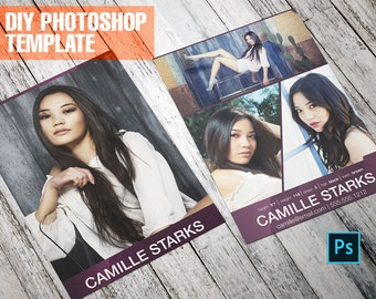 DIY Diagonal Model Comp Card - Zed Card - For Models and Actors - Photoshop Template
