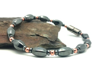 Magnetic Bracelet Therapy Pure Copper & Black Hematite Magnetic Therapy Super High Power Wellness Health FREE gift card