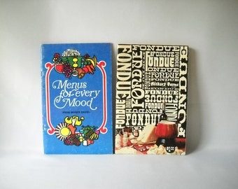 Vintage Recipe Books Fondue Cookbook Vintage Cookbooks Mogen David Wine Cookery Set of 2 Alcohol Booze Retro Recipes