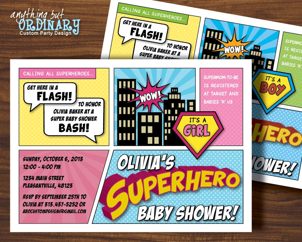 Superhero Baby Shower Invitation Printable Super Hero Party