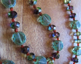 Turquoise Glass bead necklace That makes you want to go for a walk