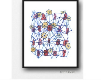 Geometric watercolor painting, Diamonds Watercolor Print, Abstract Art Print,  Red Yellow Blue Wall Art