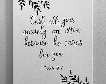 Custom Hand Lettering Canvas 1 Peter 5:7 (11x14)