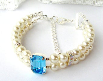 Aquamarine rhinestone and ivory pearl double strand bracelet March birthday gift for her girlfriend Mother's day Aqua Something blue