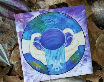 Gift For Aquarius - Aquarius Ceramic Tile - 4x4 Ceramic Tile - Zodiac Gifts For Aquarius - Best Hostess Gift -Air Element - Solar System