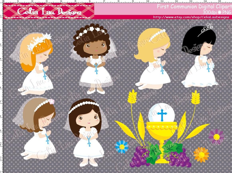 Girl First Communion Clipart / girl 1st communion digital for Communion Girl Clipart  588gtk