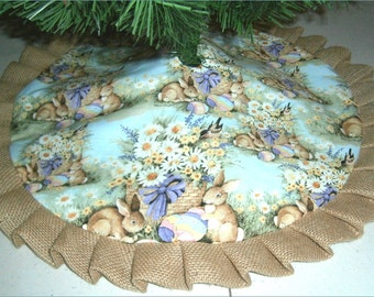 """Easter Tabletop Tree Skirt ~ 24"""" ~ Rabbits on Light Teal with Burlap Ruffle"""