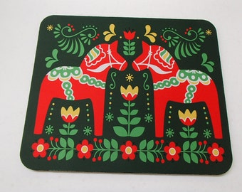 Scandinavian Mouse Pad ~ Swedish Dala Horse