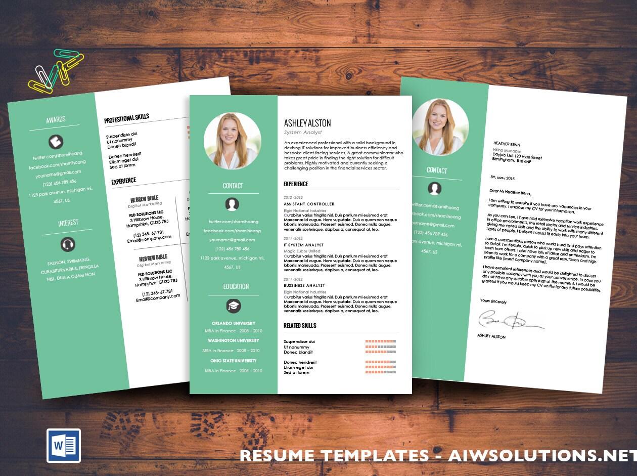 Reanudar la plantilla del CV carta de presentación para MS