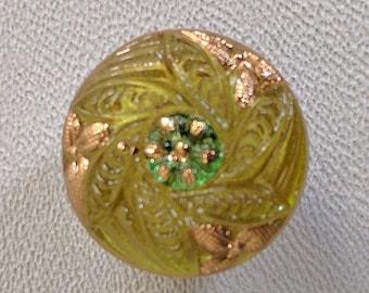 CZECH GLASS BUTTON: 18mm Handpainted Czech Glass Flower Button, Pendant, Cabochon (1)