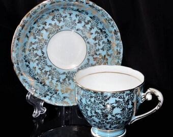 Royal Grafton Teal Blue Gold Tea Cup Saucer England