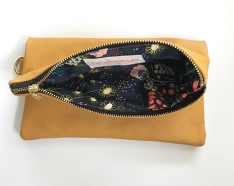 Ready to ship! Mustard yellow genuine leather foldover clutch with floral interior